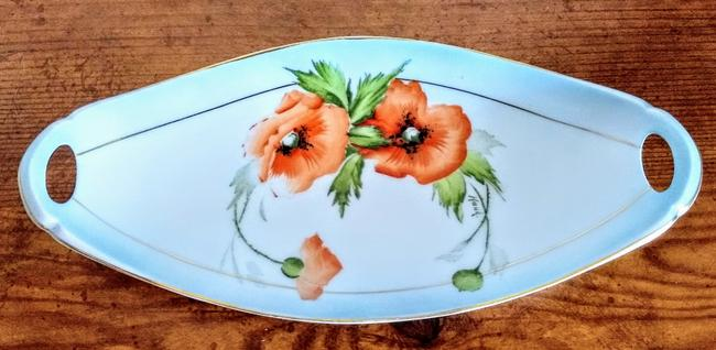 Item - White Bavarian Hand Painted Signed Floral Centerpiece Vintage Casual China