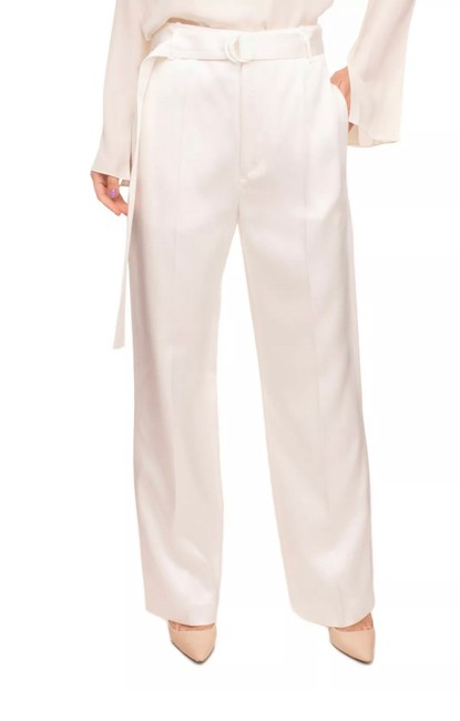 Item - Ivory Rrp €490 High Waist Belted Satin Tailored Trousers Flat Front Pants Size 12 (L, 32, 33)