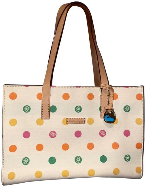 Item - East/West Collection Off White/Pastels Leather Tote