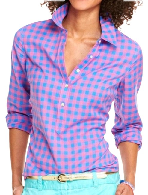 Item - Blue Pink Three Color Gingham Popover Island Sunset Button-down Top Size 0 (XS)