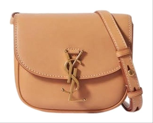 Item - Kaia Ysl-plaque Small Satchel Camel/Beige/Tan Calfskin Leather Cross Body Bag