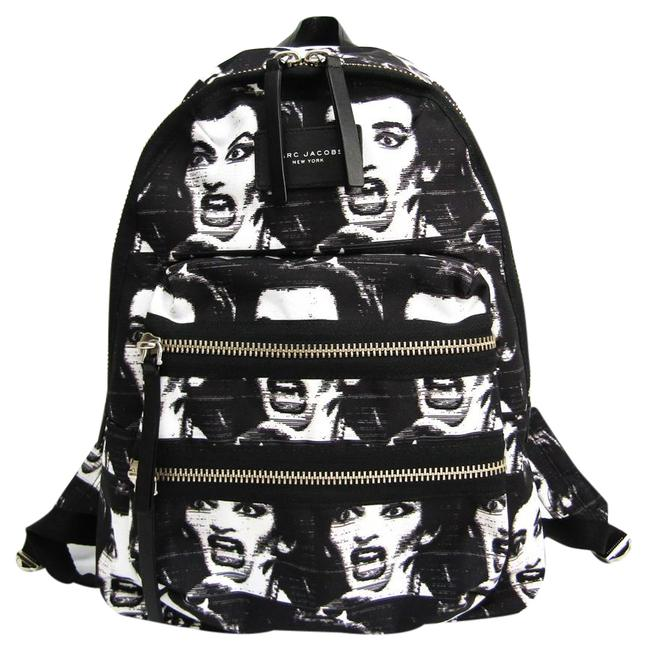 Item - Maria Callas Printed Biker M0008300 Women's Black / White Polyester / Leather Backpack