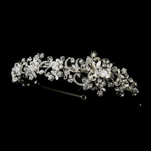 Stunning Antique Crystal & White Pearl Wedding Bridal Headband