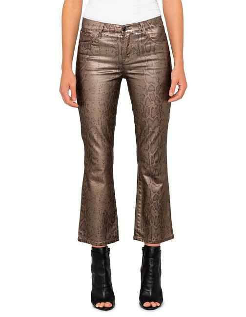 Item - Gold Coated Selena Zhora Bootcut Snake Skin Flared New Capri/Cropped Jeans Size 8 (M, 29, 30)
