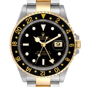 Rolex Rolex GMT Master II Yellow Gold Steel Mens Watch 16713 Box Papers