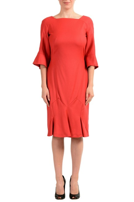 Item - Coral Red Women's Wool 3/4 Sleeve Flare Mid-length Short Casual Dress Size 12 (L)