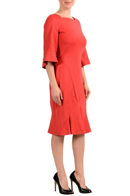 John Galliano Coral Red Women's Wool 3/4 Sleeve Flare Mid-length Short Casual Dress Size 8 (M) John Galliano Coral Red Women's Wool 3/4 Sleeve Flare Mid-length Short Casual Dress Size 8 (M) Image 2