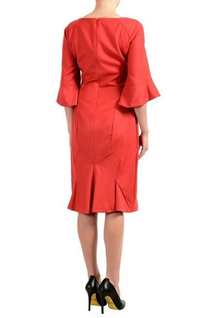 John Galliano Coral Red Women's Wool 3/4 Sleeve Flare Mid-length Short Casual Dress Size 8 (M) John Galliano Coral Red Women's Wool 3/4 Sleeve Flare Mid-length Short Casual Dress Size 8 (M) Image 3