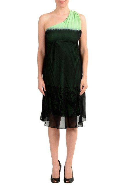 Item - Black & Green Gf Women's Silk One Shoulder Mid-length Short Casual Dress Size 8 (M)