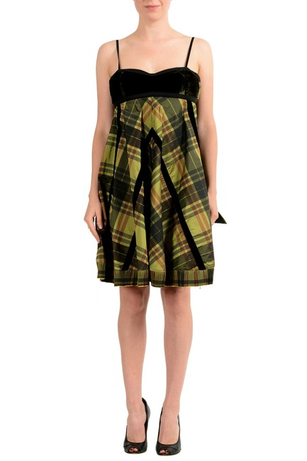 Item - Black & Green Gf Women's Checkered Flare Mini Short Casual Dress Size 4 (S)