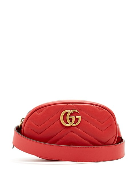 Gucci Belt Marmont Mf Gg Quilted-leather Red Leather Cross Body Bag Gucci Belt Marmont Mf Gg Quilted-leather Red Leather Cross Body Bag Image 1