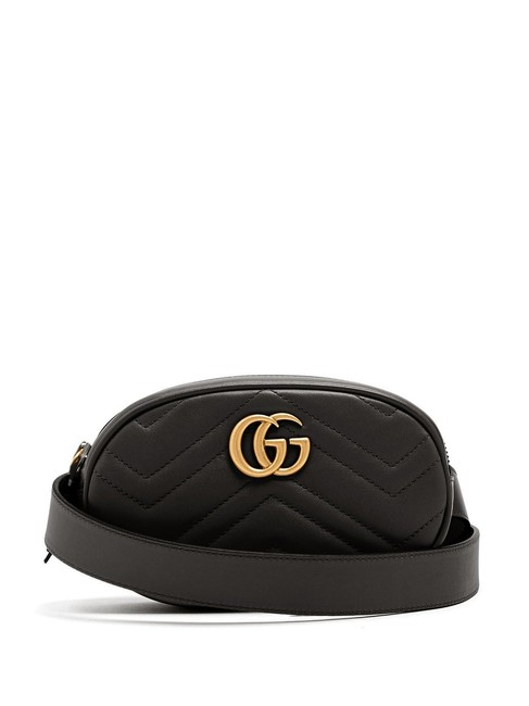 Item - Belt Marmont Mf Gg Quilted Black Leather Cross Body Bag