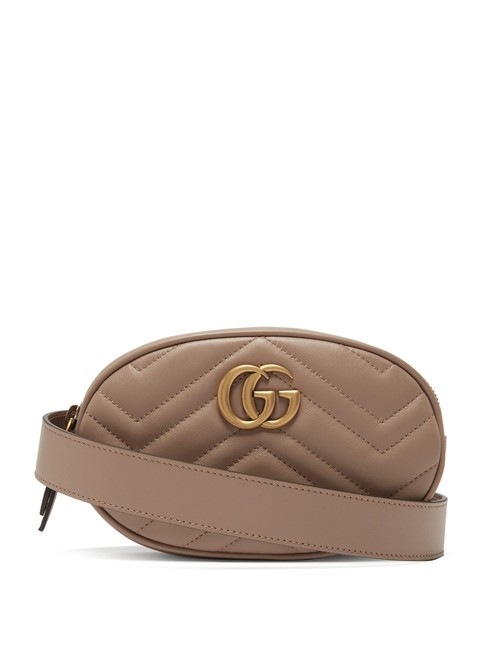 Gucci Belt Marmont Mf Gg Quilted Pink Leather Cross Body Bag Gucci Belt Marmont Mf Gg Quilted Pink Leather Cross Body Bag Image 1