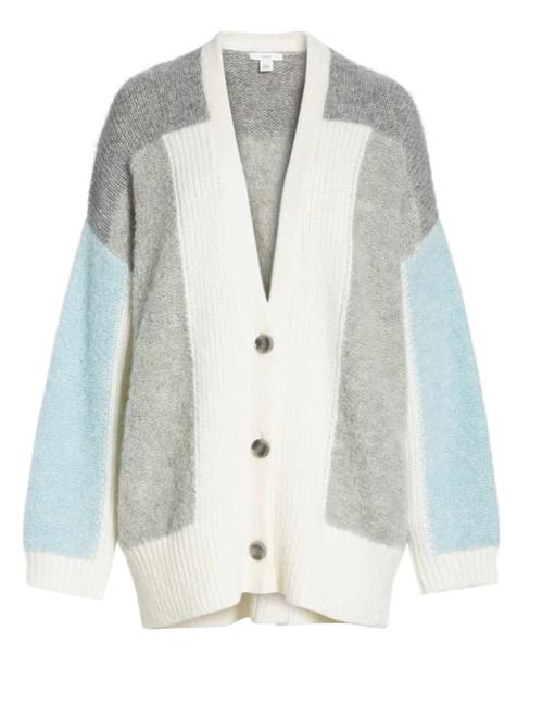 Lewit Mixed Stitch Cardigan Blue Gray Cream Sweater Lewit Mixed Stitch Cardigan Blue Gray Cream Sweater Image 1