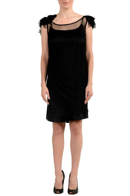 Just Cavalli Black Women's Stretch See Through Short Cocktail Dress Size 12 (L) Just Cavalli Black Women's Stretch See Through Short Cocktail Dress Size 12 (L) Image 1