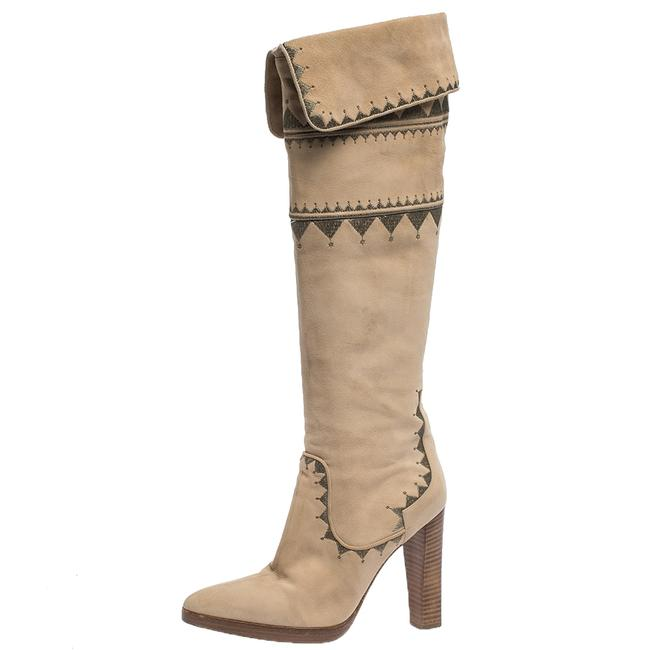 Hermès Beige Suede Embroidery Detail Knee High Boots/Booties Size US 8 Regular (M, B) Hermès Beige Suede Embroidery Detail Knee High Boots/Booties Size US 8 Regular (M, B) Image 1