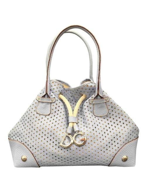 Dolce&Gabbana Drawstring Perforated Light Blue Leather Shoulder Bag Dolce&Gabbana Drawstring Perforated Light Blue Leather Shoulder Bag Image 1