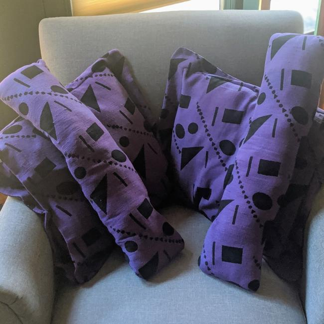 Unbranded Black and Purple Handmade Accent Pillows Unbranded Black and Purple Handmade Accent Pillows Image 1