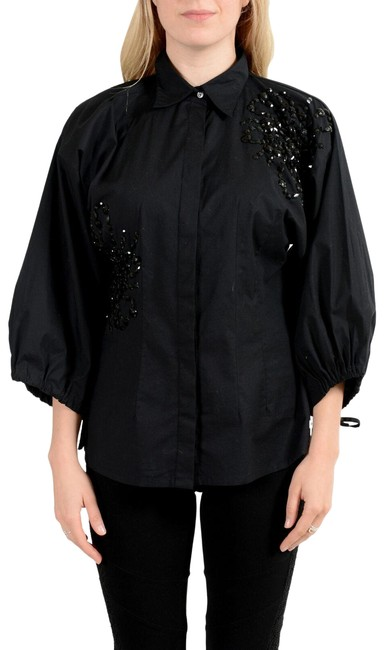 Preload https://img-static.tradesy.com/item/27585196/gianfranco-ferre-black-gf-women-s-embellished-blouse-size-8-m-0-1-650-650.jpg