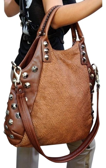 Be&D New Garbo Embossed Cognac Leather Hobo Bag Be&D New Garbo Embossed Cognac Leather Hobo Bag Image 1