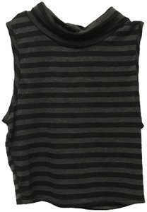 B*Envied Sleeveless Stretchy Striped Top Black and Gray