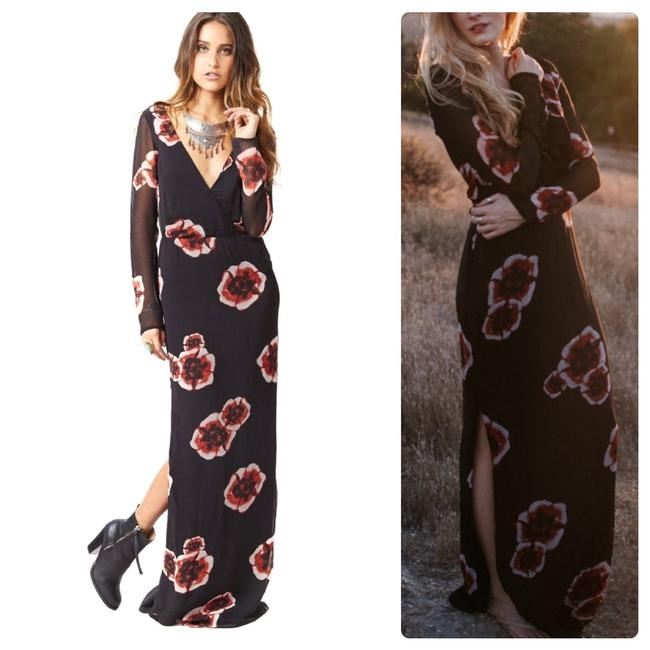 Item - Black Scarlet Floral Sleeve Long Casual Maxi Dress Size 2 (XS)
