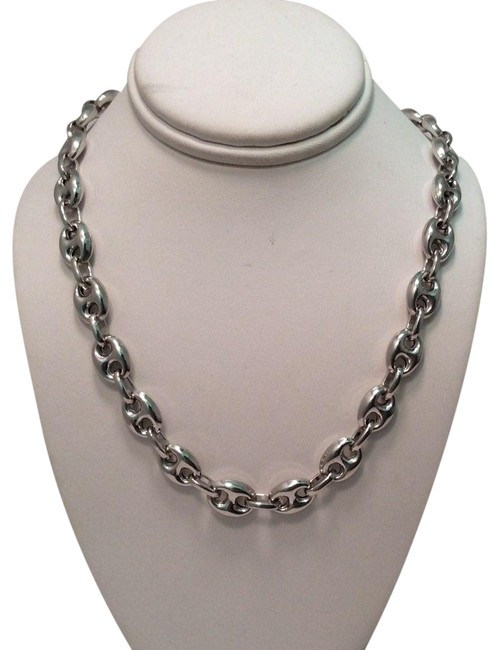 Silver Italy 925 Sterling 7.6mm Puffed Hand Made Marina Mariner Chain Necklace Silver Italy 925 Sterling 7.6mm Puffed Hand Made Marina Mariner Chain Necklace Image 1