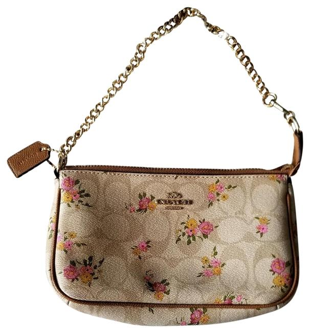 Coach 19 Floral Beige Coated Canvas Wristlet Coach 19 Floral Beige Coated Canvas Wristlet Image 1
