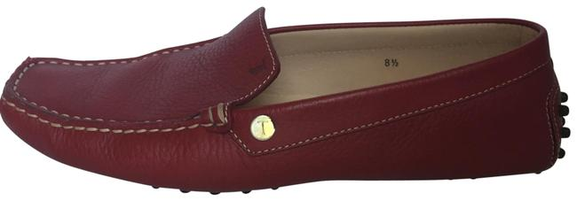 Tod's Red Pebble Leather Driving Moccasin Flats Size US 8.5 Regular (M, B) Tod's Red Pebble Leather Driving Moccasin Flats Size US 8.5 Regular (M, B) Image 1