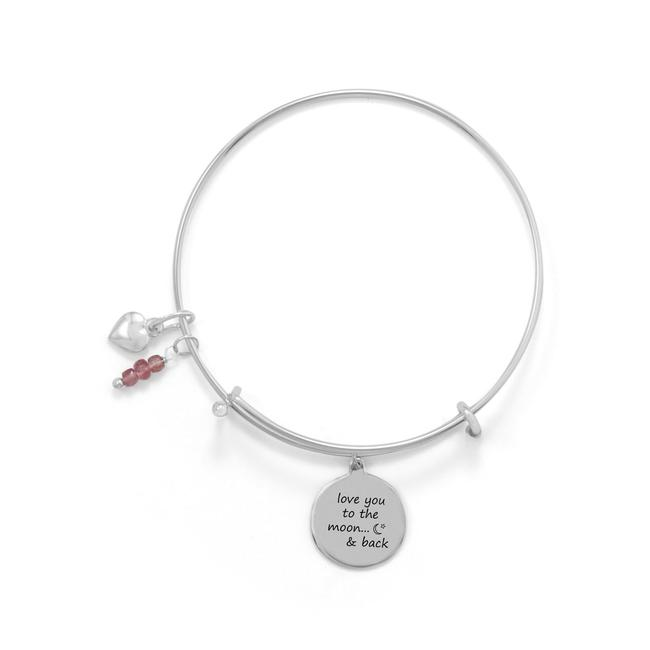 """Silver """"Love You To The Moon and Back"""" Bangle Bracelet Silver """"Love You To The Moon and Back"""" Bangle Bracelet Image 1"""