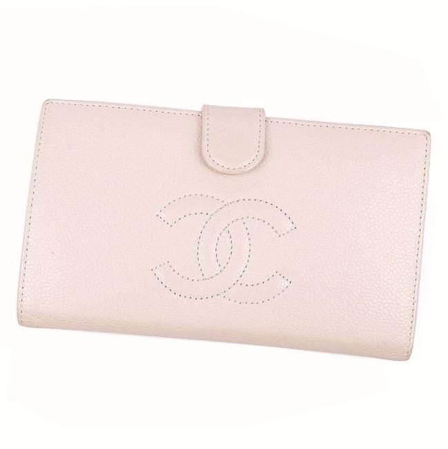 Chanel Pink Long Coco Mark Caviar Skin Pouch 2 Fold Leather Ladies Wallet Chanel Pink Long Coco Mark Caviar Skin Pouch 2 Fold Leather Ladies Wallet Image 1