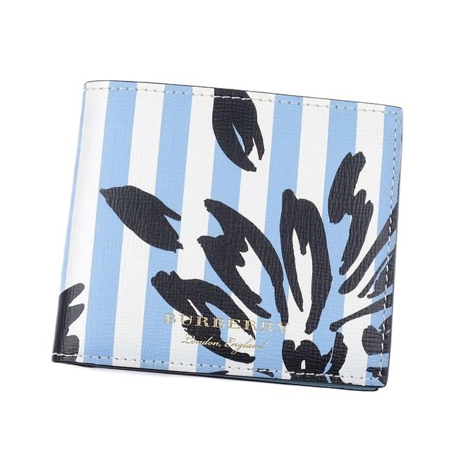 Burberry Black / Blue / White London London Flower Stripe Leather Bi-fold Wallet Burberry Black / Blue / White London London Flower Stripe Leather Bi-fold Wallet Image 1