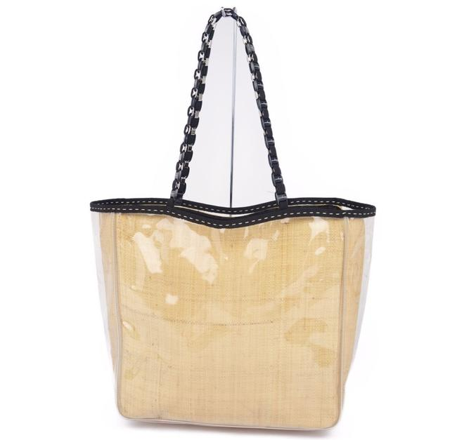 Salvatore Ferragamo Bag Vala Chain Jute Ladies Beige / Clear Pvc Tote Salvatore Ferragamo Bag Vala Chain Jute Ladies Beige / Clear Pvc Tote Image 1