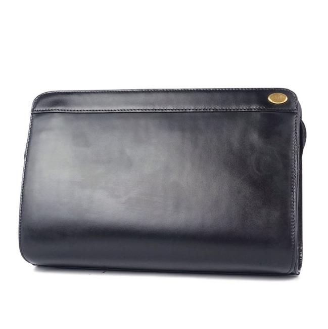 Alfred Dunhill Black Clutch Second Bag Square Bi-fold Leather Men's Bags Wallet Alfred Dunhill Black Clutch Second Bag Square Bi-fold Leather Men's Bags Wallet Image 1