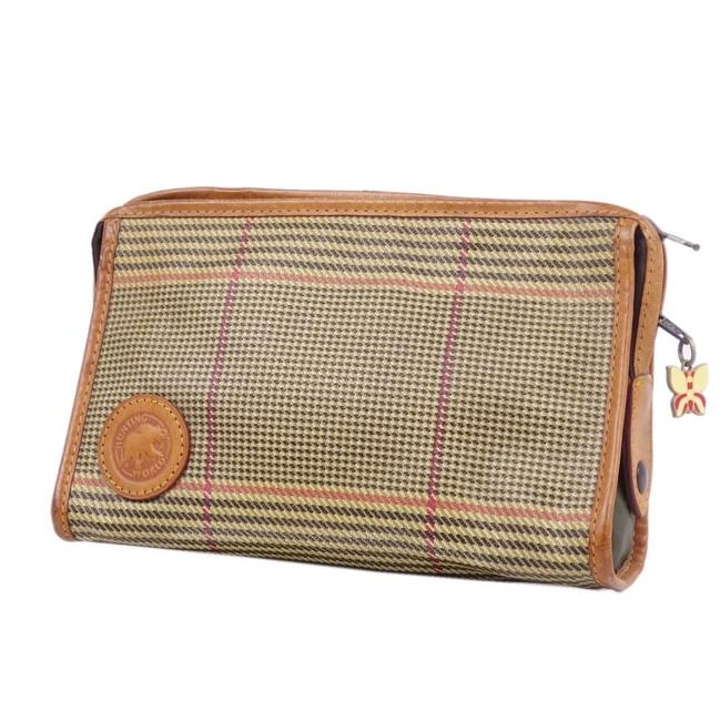 Hunting World Check Second Leather Men's Women's Khaki Clutch Hunting World Check Second Leather Men's Women's Khaki Clutch Image 1