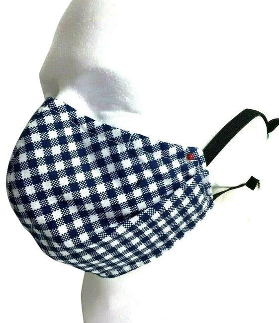 Blue Corona Reversible Face Mask Cotton Gingham & Plaid Reversible Blue Corona Reversible Face Mask Cotton Gingham & Plaid Reversible Image 1