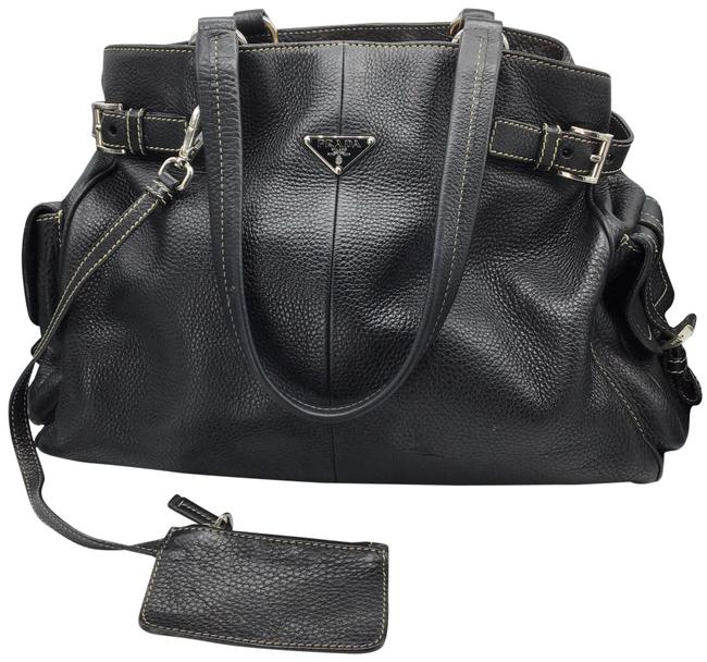 Prada Shoulder Bag All Black Leather Satchel Prada Shoulder Bag All Black Leather Satchel Image 1