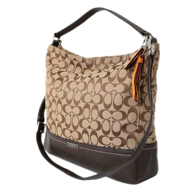 Coach 2way Canvas Leather F23279 Brown Signature Line Shoulder Bag Coach 2way Canvas Leather F23279 Brown Signature Line Shoulder Bag Image 1