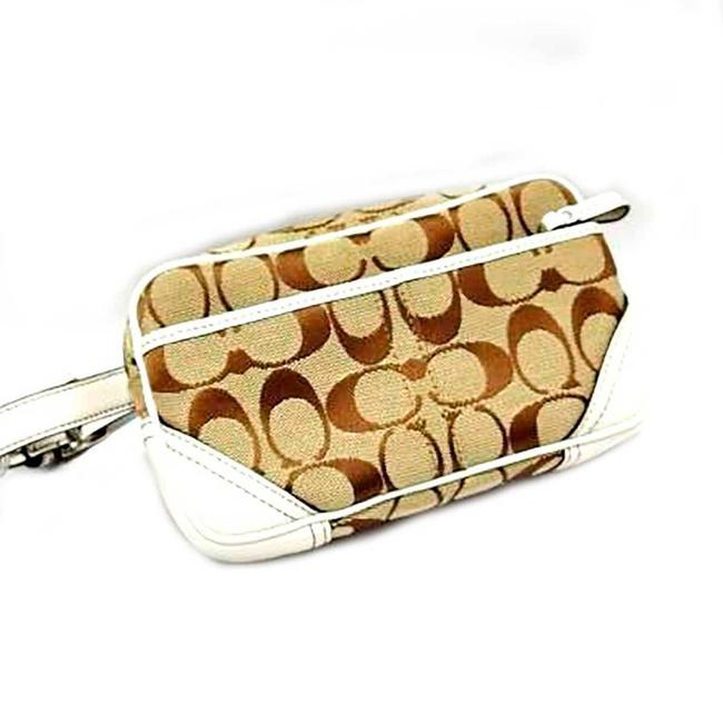 Coach / Khaki / White Signature Line Shoulder Bag Coach / Khaki / White Signature Line Shoulder Bag Image 1