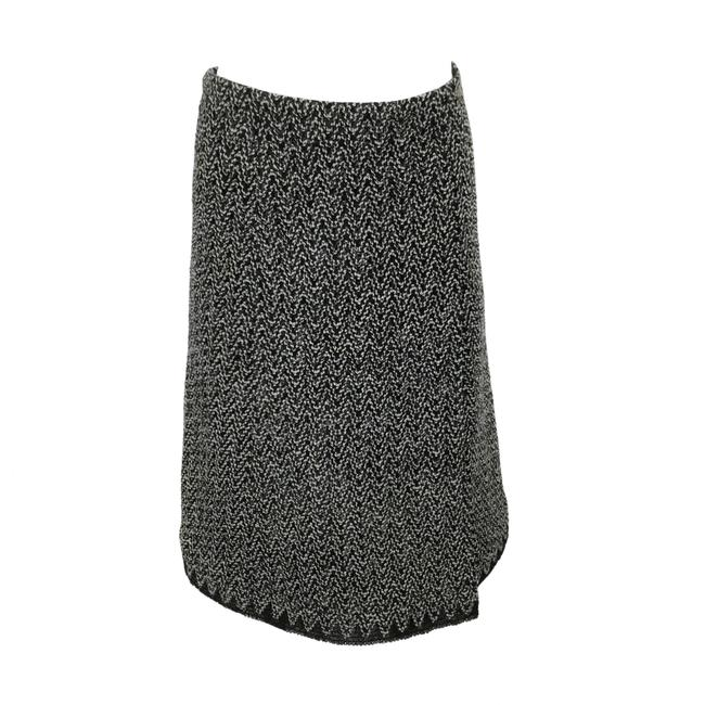 Item - Black / White 2017 Wool Tweed Zig Zag Skirt Size 8 (M, 29, 30)