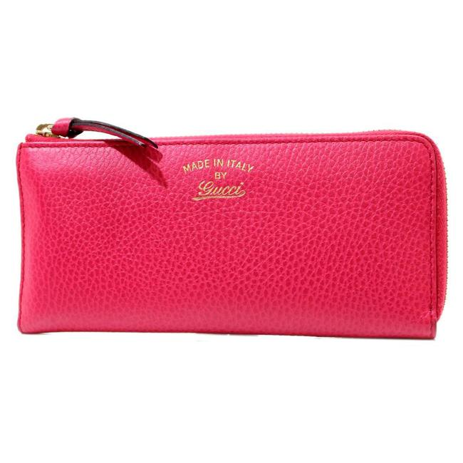 Item - Rose Red Long Swing L-shaped Zipper Leather 368232 493075 Wallet