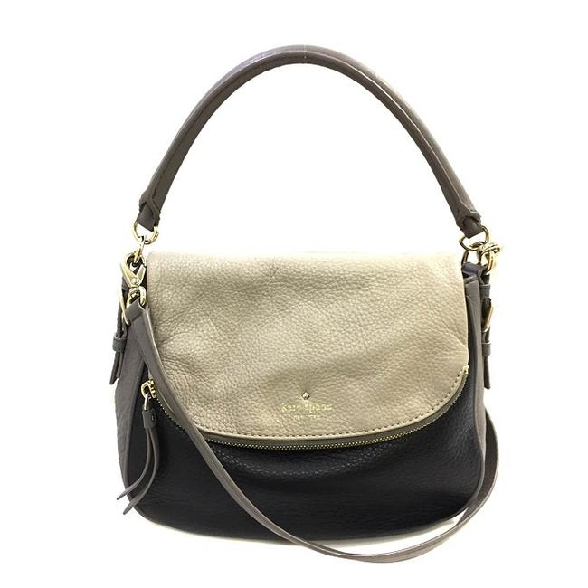 Item - Rn 0102760 Ca 57710 Ladies Soft Handbag Beige / Black / Gray Leather Shoulder Bag