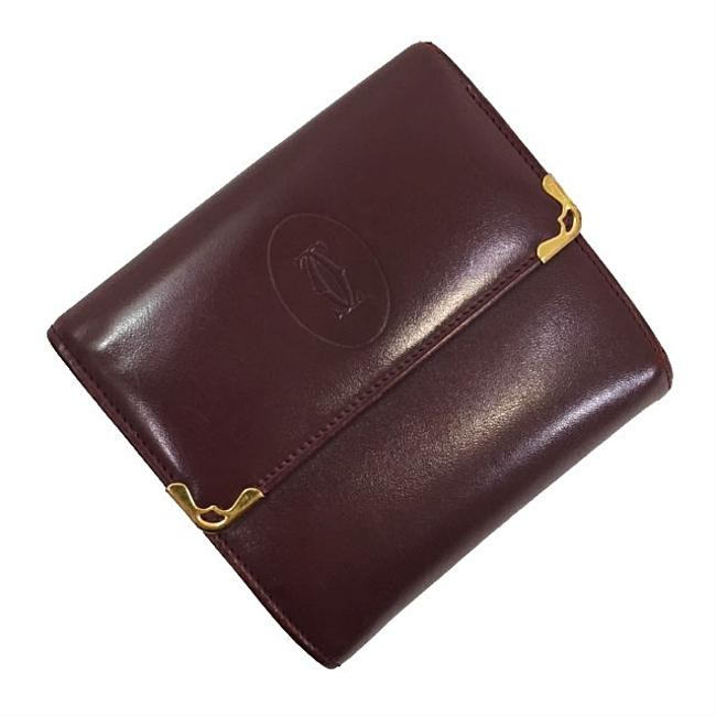 Item - Bordeaux / Wine Red Tri-fold Mast Gold Hardware Leather Calf Ladies Vintage Wallet
