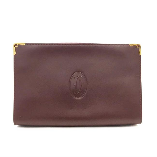 Item - Clutch Second Must Gold Hardware Calf Handbag Ladies Men's Mast Bordeaux / White / Wine Red Leather Satchel