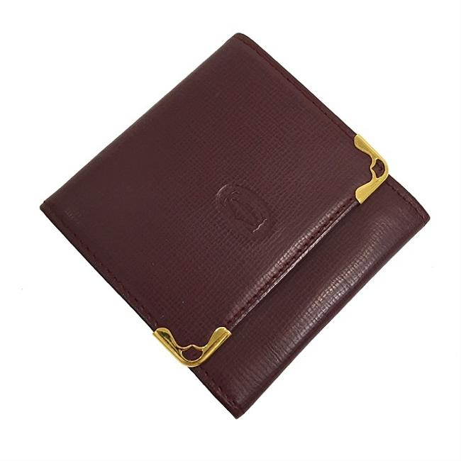 Item - Bordeaux / Wine Red Coin Case Mast Gold Hardware Leather Vintage Ladies Mini Mark Wallet