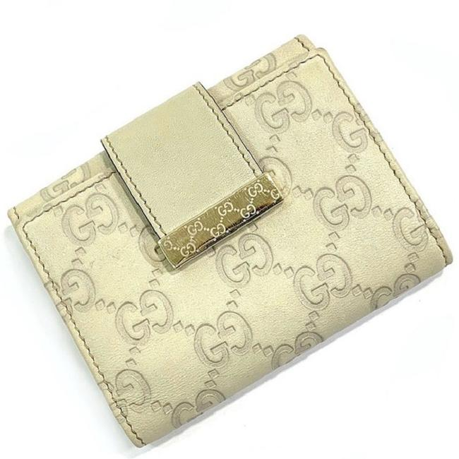 Item - Beige / Cream / White Card Case Shima 212097 513092 Business Holder Leather Gg Women's Men's Pattern Pass Line Wallet