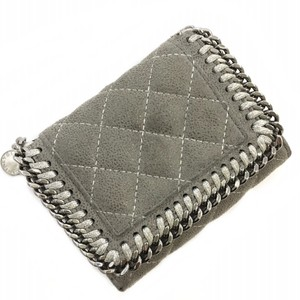 Stella McCartney Stella McCartney Bi-Fold Wallet Gray Silver Suede Leather STELLAMcCARTNEY Quilted Chain Women's Fashionable