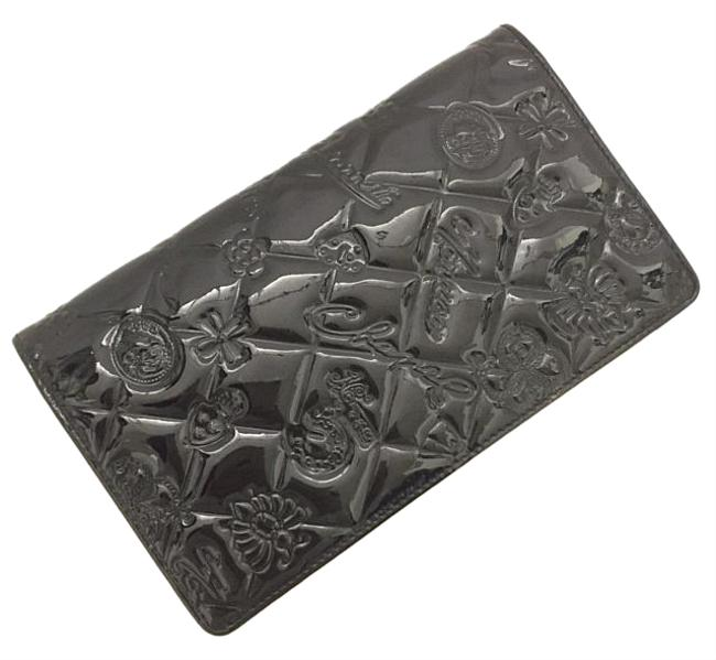 Item - Black Icon Line Bi-fold Long Enamel Patent Leather Quilted Flower No5 Ladies Wallet