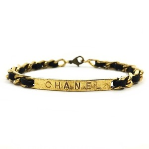 Chanel Chanel Bracelet Chain Sally Gold Black Leather CHANEL Plate Ladies Breath Formal Women Vintage