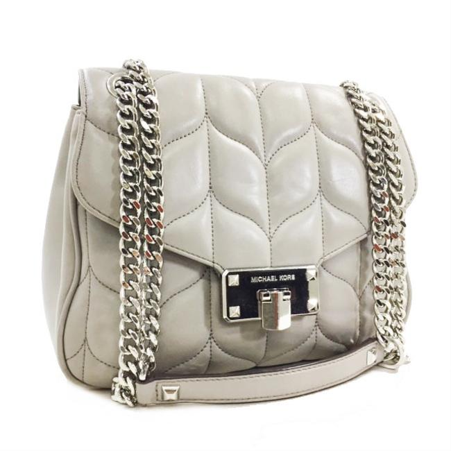 Item - Chain Silver Hardware Ladies Quilting Flap Pochette Gray Leather Shoulder Bag